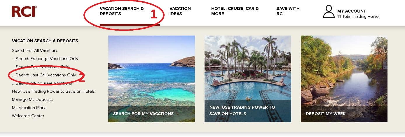 Access these Timeshare Deals on the RCI Homepage