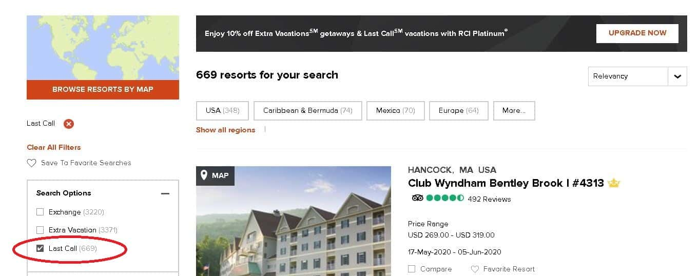 Search Feature Option to Find Last Call Vacations