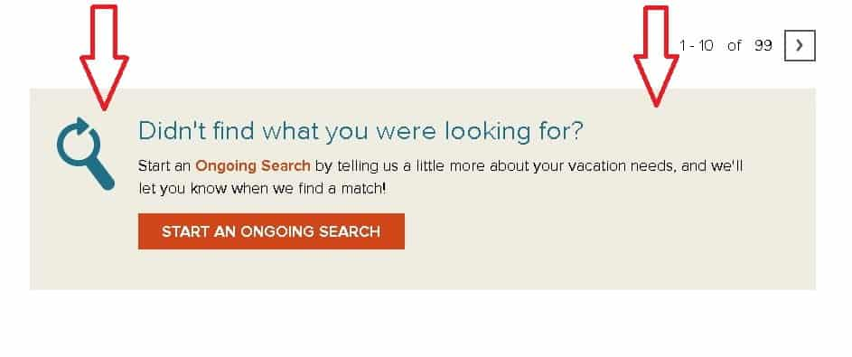 RCI Exchange Search Results Start an Ongoing Search button