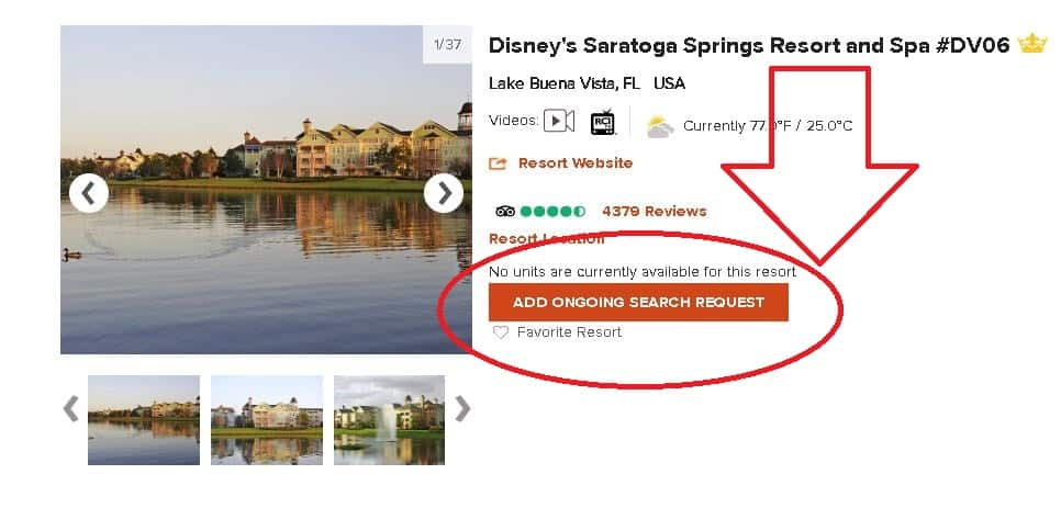 RCI Property DVC Ongoing Search Button