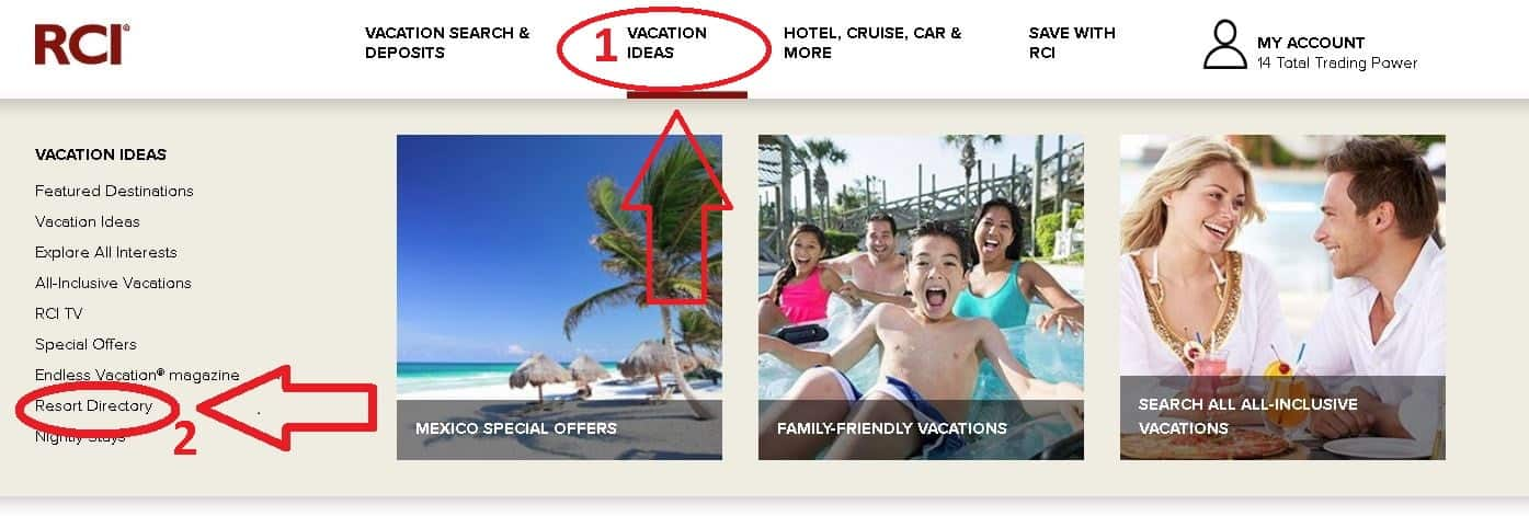 Path to RCI Resort Directory