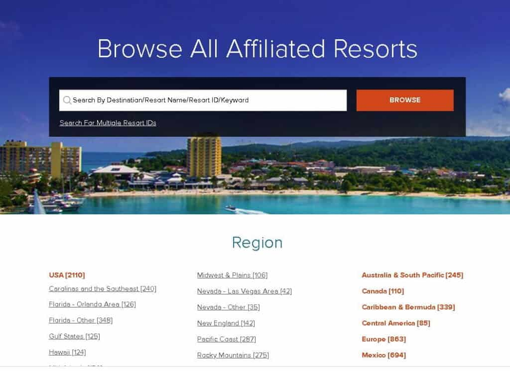 Homepage of RCI Resort Directory